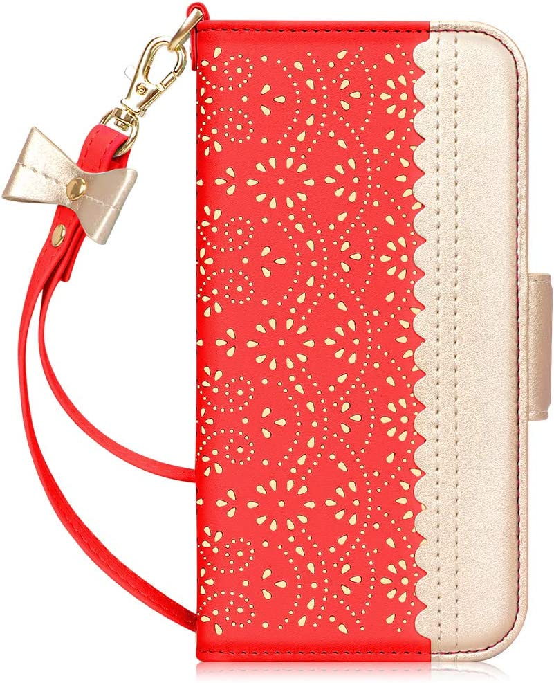 WWW Wallet Case Compatible with iPhone 12/iPhone 12 Pro 2020,[Romantic Carved Flower] Leather Wallet Case with [Makeup Mirror] [Kickstand Feature] for iPhone 12/iPhone 12 Pro 6.1-Inch Red