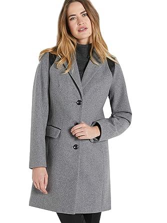 la plus récente technologie texture nette modélisation durable Balsamik - Manteau Coupe Droite en Drap de Laine - Femme