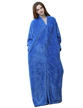 b1f231212c Men Women s Zip Front Bathrobe Premium Flannel Fleece Plush Caftan Soft  Long Robe Warm Housecoat
