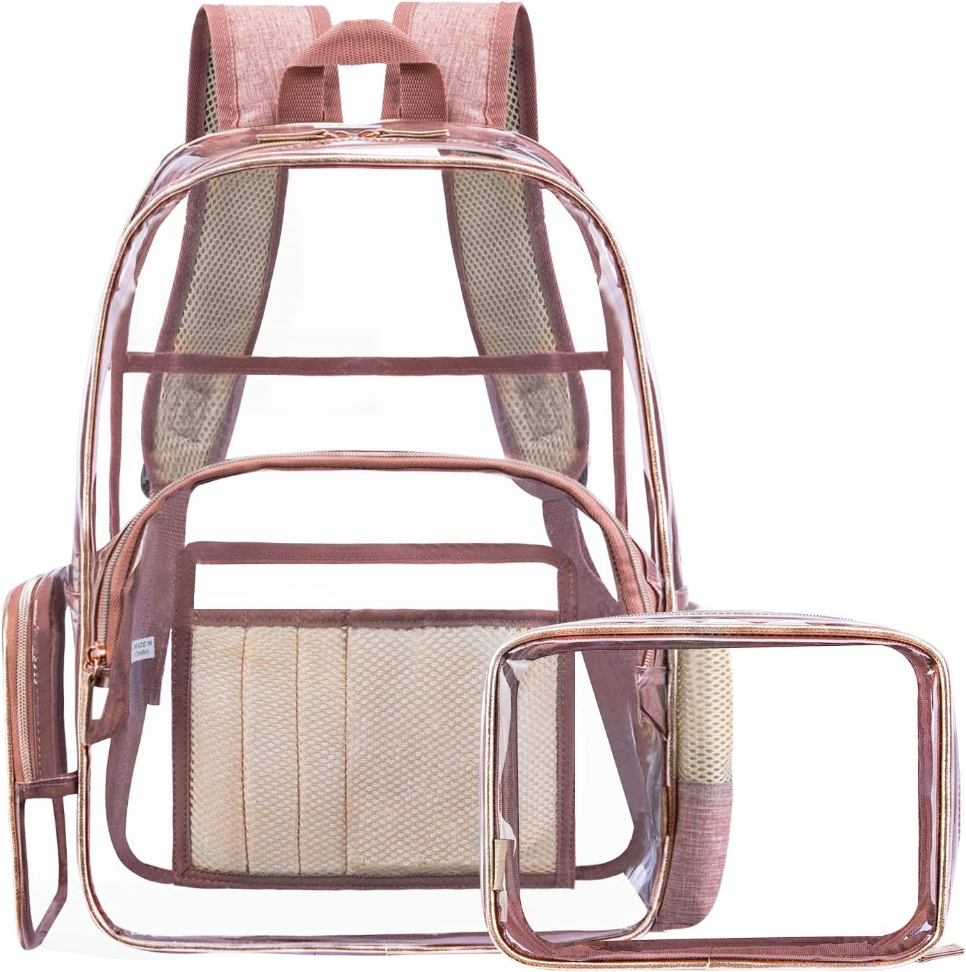 NiceEbag Clear Backpack with Cosmetic Bag Transparent PVC Backpack See Through School Bookbag with Small Pouch Fit 15.6 Inch Laptop for Women Girls,Rose Gold