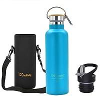 iParaAiluRy Trinkflasche Edelstahl mit Bambus Kappe (2 Trinkverschlüsse) - BPA freie Thermosflaschen 500/600/750/1000ml - Vakuumisolierte Doppelwandig Thermoskanne