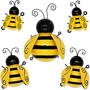 Metal Bee Wall Art 3D Sculpture Wall Decor Hanging for Indoor and Outdoor 5 Packs