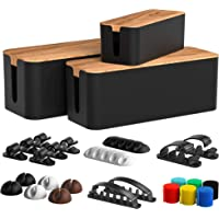 Koreal Black Cable Management Box 3 Pack with 16 Cable Clips Set-Large & Medium & Small Wooden Style Cable Organizer Box…