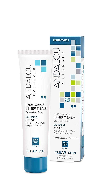 Andalou Naturals Argan Stem Cell BB Benefit Balm Un-Tinted SPF 30, 2 Ounce