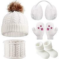 Gorro Bufanda de Invierno de Bebé Orejeras Mitones Calcetines de Niños Pequeños, Conjunto Caliente de Invierno de Bebé 5…