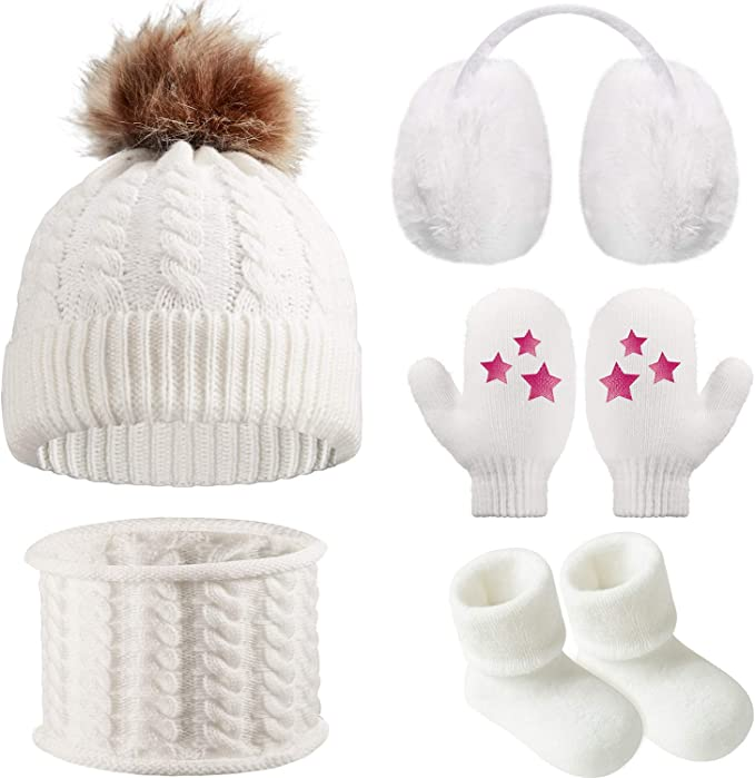 5 Pieces Girl Winter Warm Knitted Hat Kids Toddler Cap Ear Muffs Gloves Socks Pink