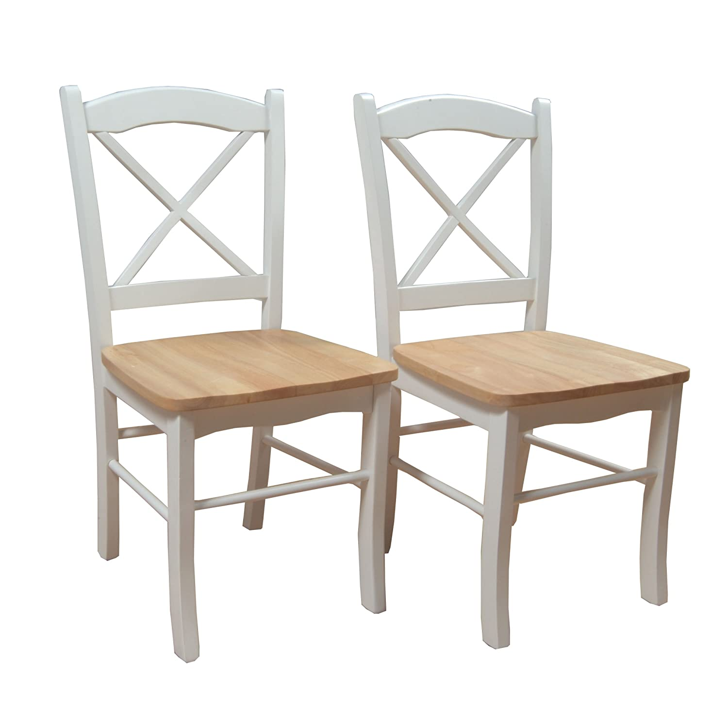 Target Marketing Systems Set of 2 Tiffany Dining Chairs with Cross Back, Set of 2, White Natural