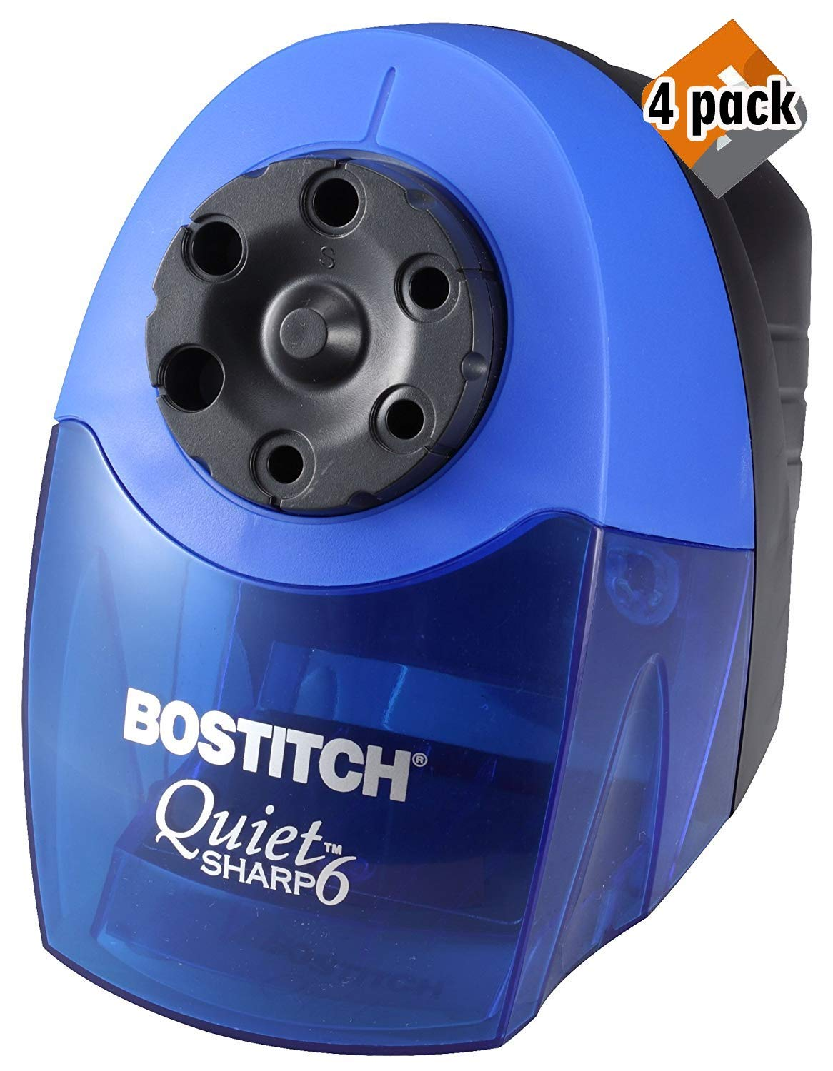 Bostitch QuietSharp 6 Heavy Duty Classroom Electric Pencil Sharpener, 6-Holes, Blue (EPS10HC) 4 Pack by Bostitch Office