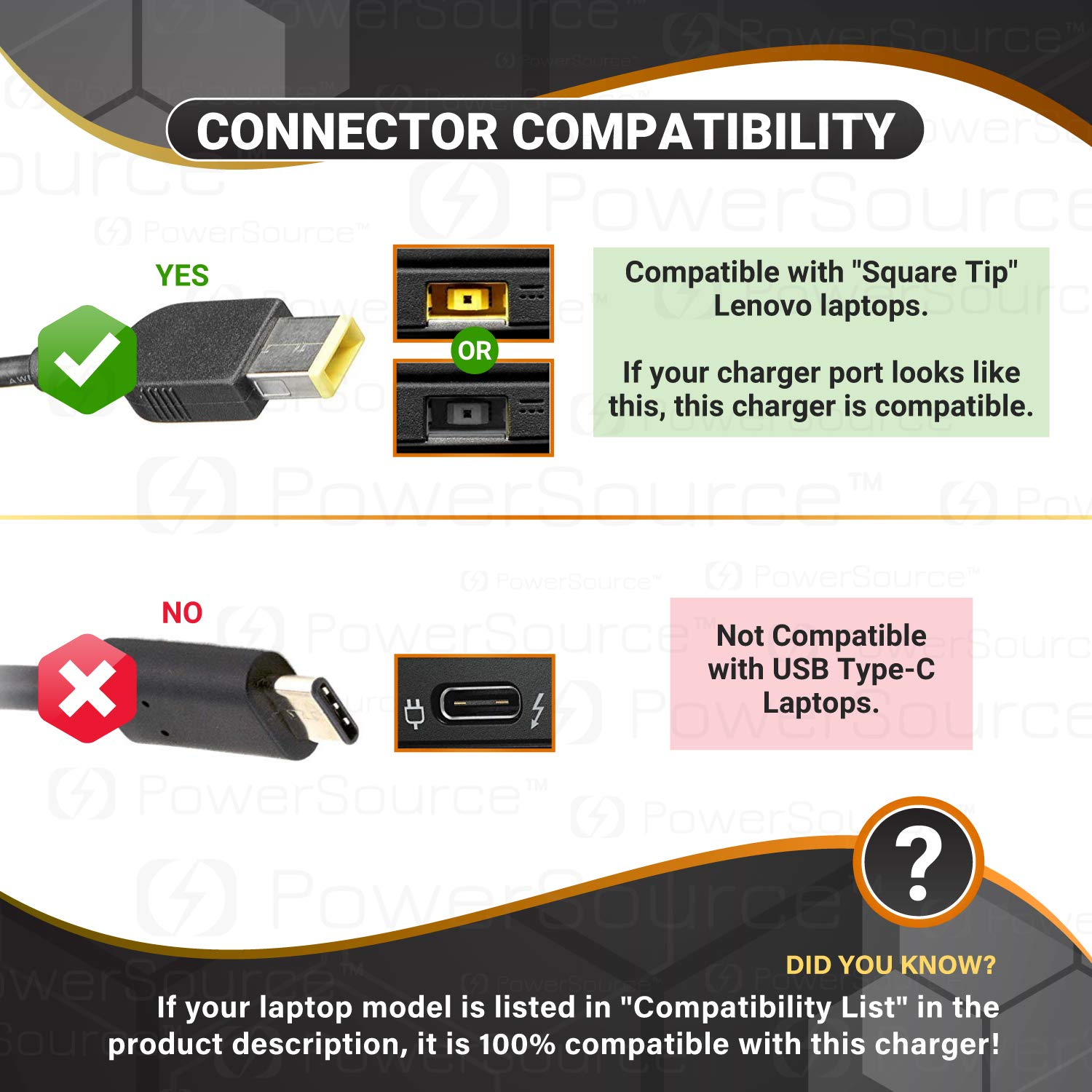PowerSource 170W 135W 20V UL Listed Extra Long 12Ft AC-Adapter-Charger for Lenovo Y50 Y50-70 IdeaPad Y700 Legion Y520 Y530 ThinkPad T560 W541 W540 T460P T540 T440P Y70 Y70-70 Laptop Power-Supply Cord by PowerSource (Image #2)