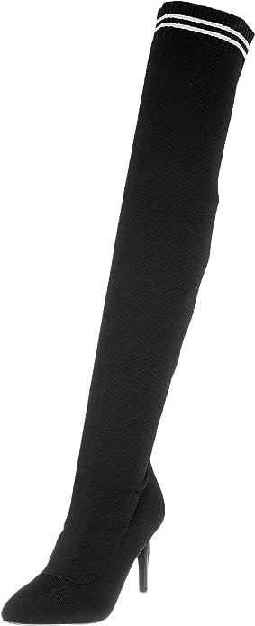 Details zu Buffalo Damen Overknee Stiefel Lemon Drop 1221001 schwarz