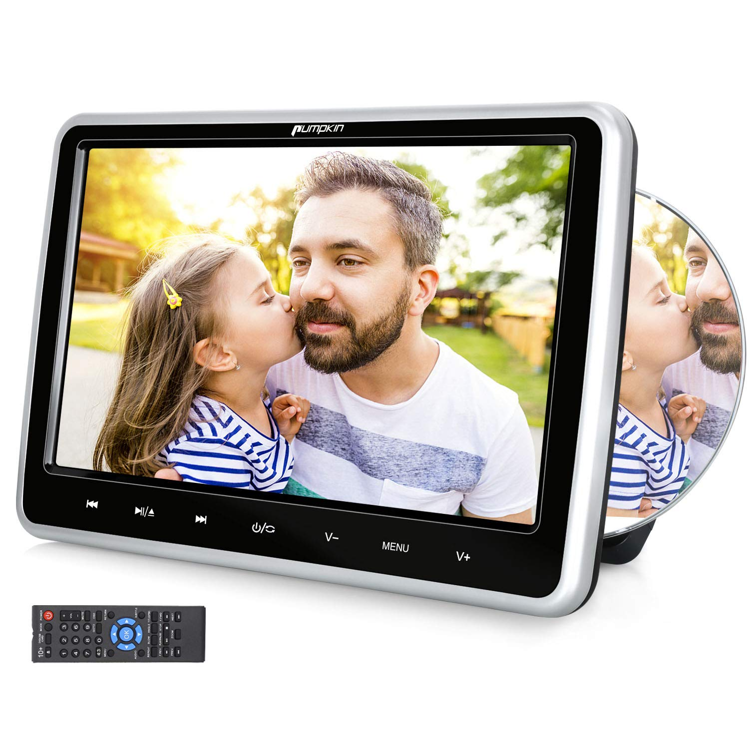 PUMPKIN 10.1'' Car Headrest DVD Player with Suction Drive, Support Sync Screen, Region Free, AUX, AV in/Out, USB/SD, Last Memory, Touch Button