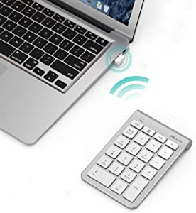 Wireless Number Pad, Jelly Comb Numeric Keypad 2.4G Number Pad Financial Accounting Keypad 22 Key for Laptop , PC , Desktop, Surface , Notebook-White and Sliver