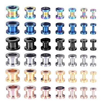 Longbeauty juego de 2 tornillos de acero inoxidable tunnel plug expansores de oreja, azul, 20 mm: Amazon.es: Deportes y aire libre