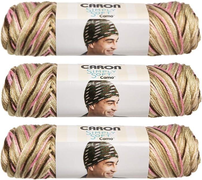 Simply Soft Camo Yarn-Pink Camo