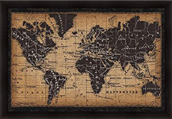 Amazon old world map pela studio black burlap art print old world map pela studio black burlap art print framed picture wall dcor artwork gumiabroncs Image collections
