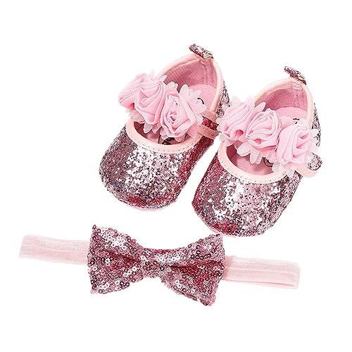best loved 84a32 2c4d9 Auxma Babyschuhe für 0-18 Monate, Baby Mädchen Bequeme Anti-Rutsch  Prinzessin Kleinkind Schuhe Krabbel Hausschuhe mit 1 PC Stirnbänder Haarband