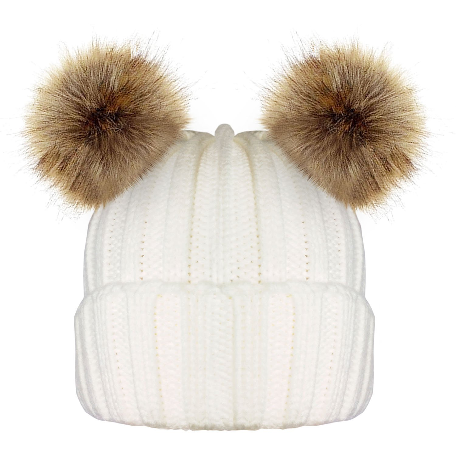 TOSKATOK Ladies Womens Girls Knitted Ribbed Winter Beanie Bobble Hat with Twin Faux Fur Pom Pom