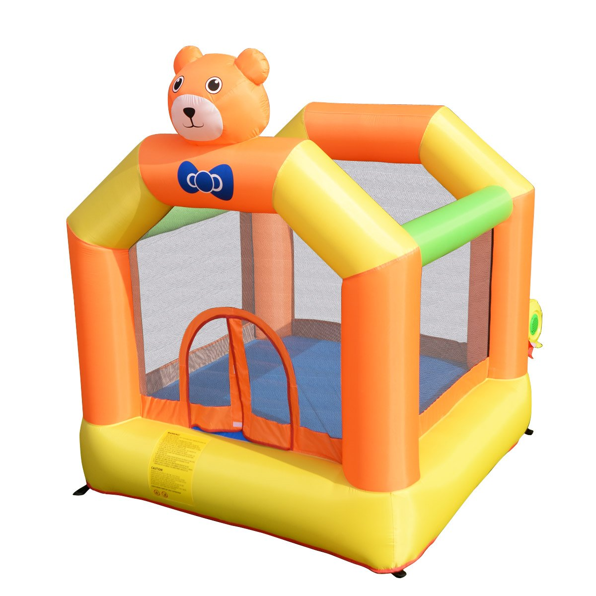 Costzon Inflatable Bounce House, Castle Jumper Slide Mesh Walls, Kids Party Jump Bouncer House w/Net, Carry Bag Without Blower (Cutty Bear Themed)