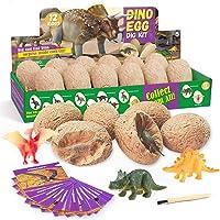 PowerKing Huevos de Dinosaurio Excavación Kits, 12 Kits de Excavación de Dinosaurios con 12 Dinosaurios Unicos, Dinosaur…