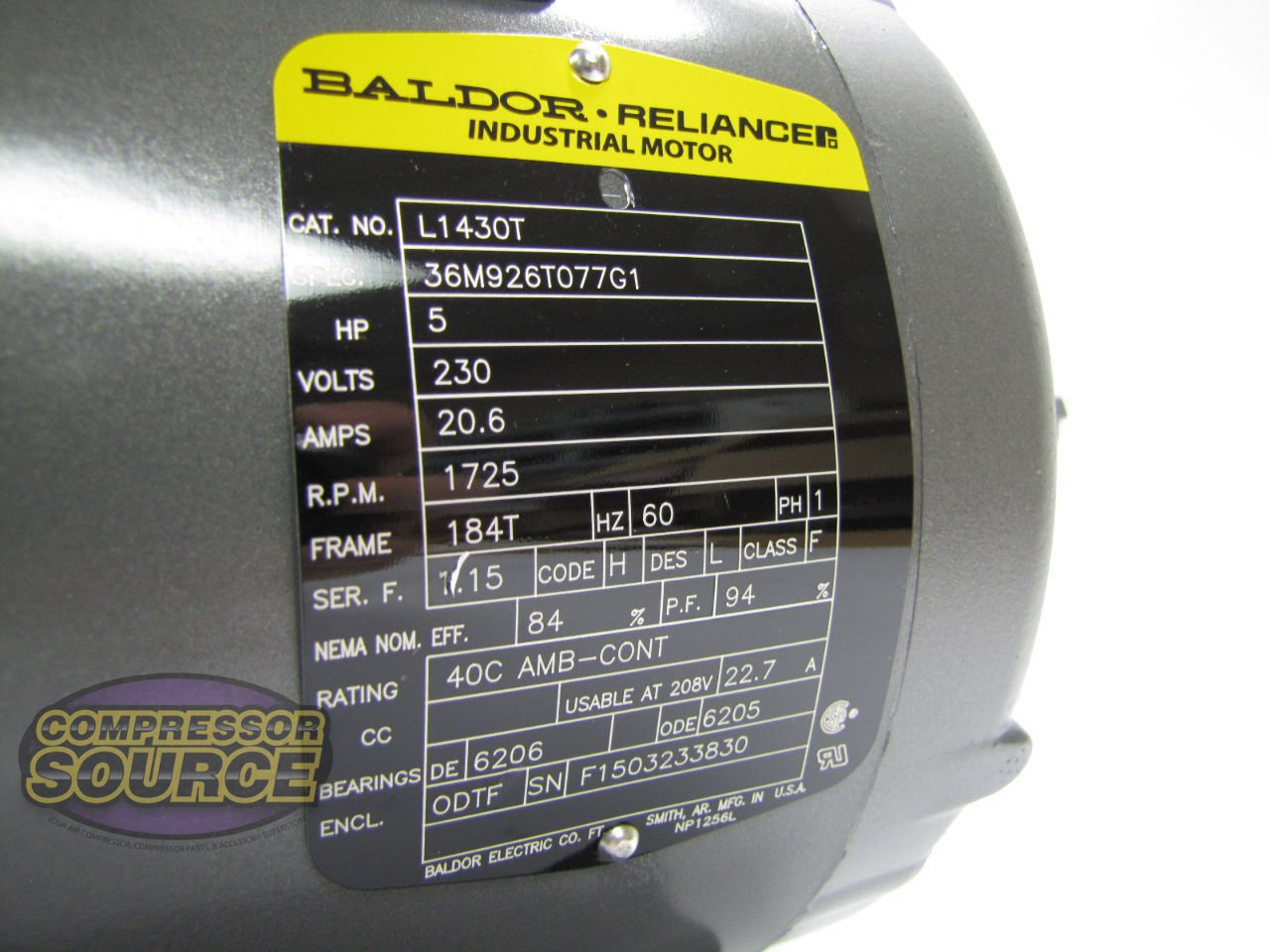 71qYIM5 %2BeL._SL1280_ baldor l1430t general purpose ac motor, single phase, 184t frame wiring diagram for reliance motors at edmiracle.co