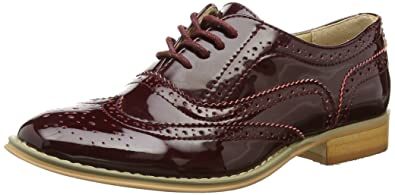 Ladies Womens Burgundy Patent Lace Up Casual Flat Low Heel Brogues Loafer Shoesk Newest