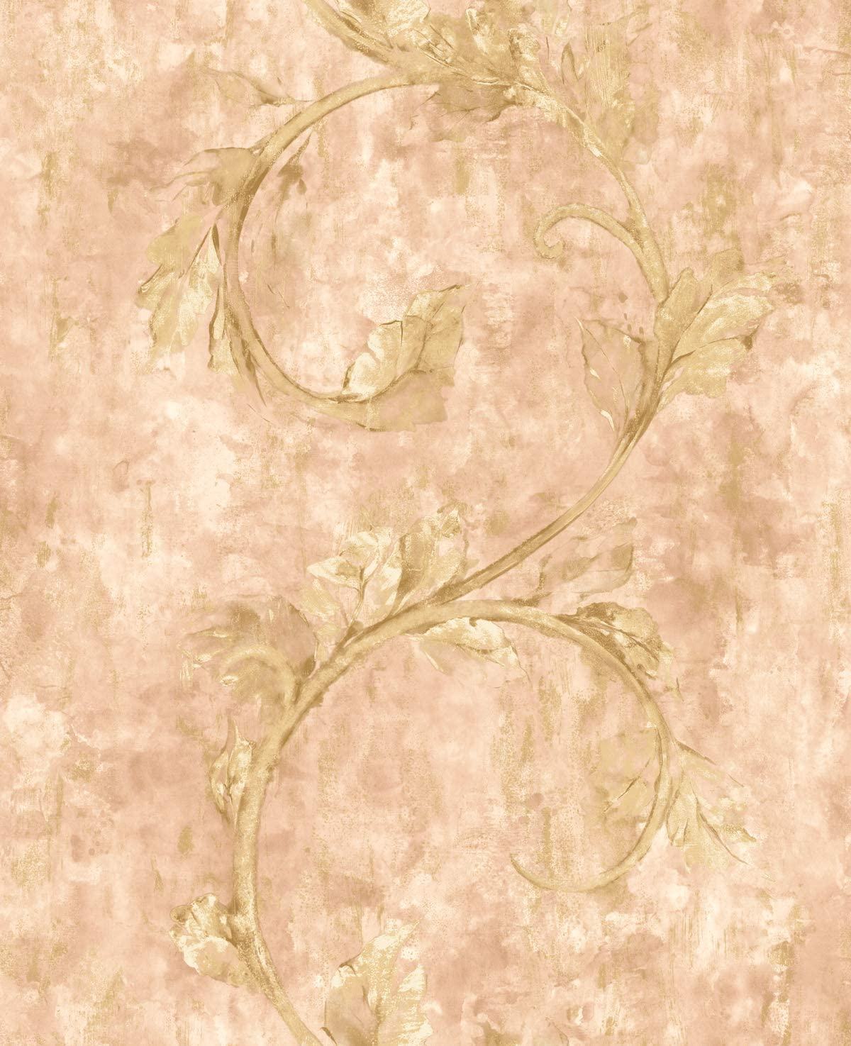 Rose Gold Wallpaper Pink Floral Wallpaper Scrollwork Wallpaper