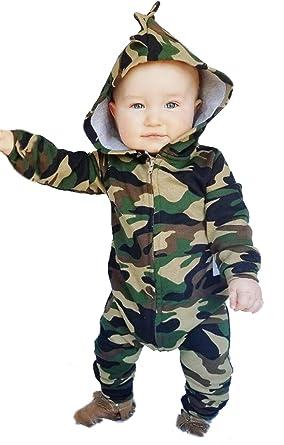 4c878e809 Amazon.com  Toddler Boys Girls Camouflage Print Hoodies Romper Fall ...