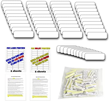 Gloss WHITE 76x25mm Full Colour Sublimated Name Badge with PIN Fastener