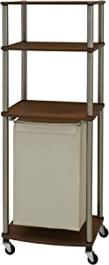Household Essentials Triple Laundry Sorter with Folding Table, Walnut