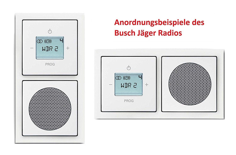 Busch Jäger Unterputz UP Digitalradio 8215 U (8215U) future studioweiß Komplett-Set Lautsprecher + Radioeinheit + Abdeckungen in 2 fach Future Rahmen integriert Busch Jäger