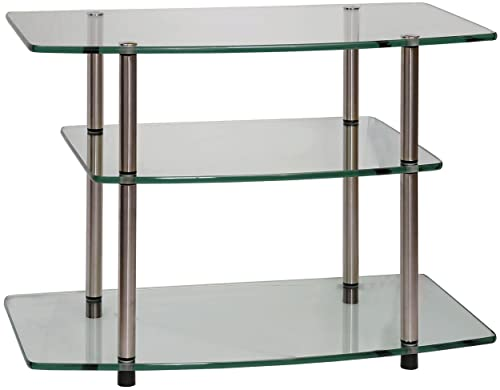Convenience Concepts Designs2Go Go-Accsense Glass TV Stand for Flat Panel TV s Up to 32-Inch or 80-Pounds, Clear Glass
