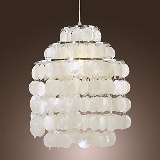 low priced 18b43 a8ce6 LightInTheBox Modern White Shell Pendant Chandelier Mini Style Ceiling  Light Fixture for Bedroom, Living Room, Bulb Not Included (Chrome Finish)