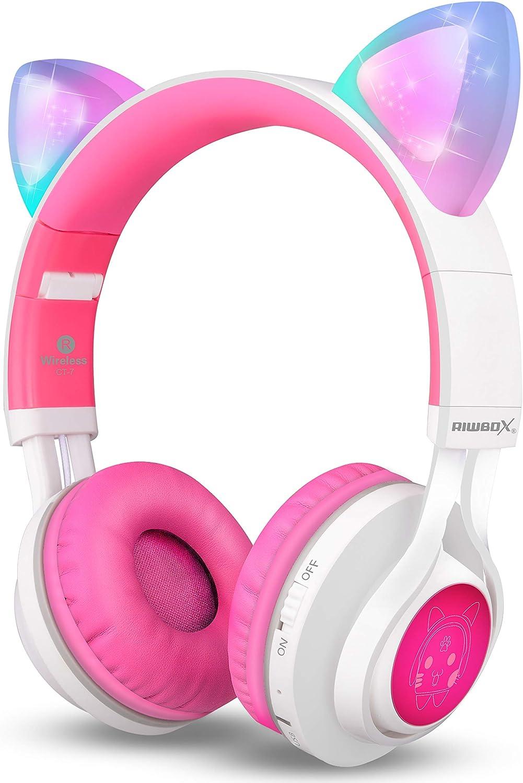 Riwbox CT-7 - Auriculares de diadema con luz LED, inalámbricos plegables sobre la oreja con micrófono y control de volumen para iPhone/iPad/Smartphones/Laptop/PC/TV Blanco y rosa