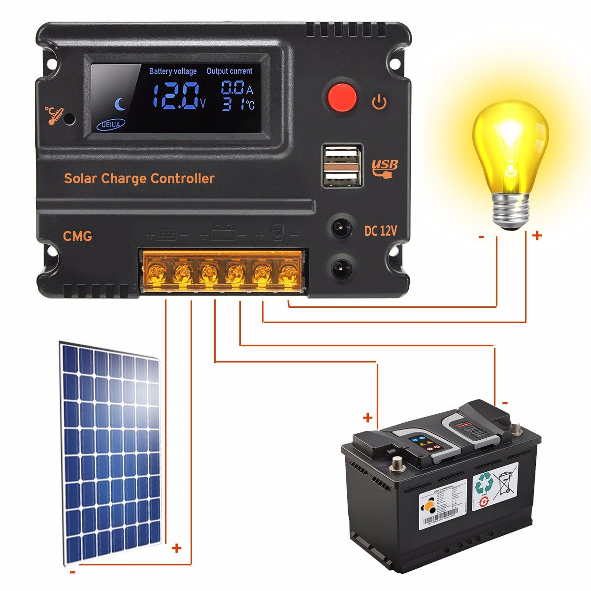 Mohoo 20a 12v 24v Solar Charge Controller Auto Switch Pwm 10a 12v24v Automatic Art Of Circuits Lcd Intelligent Panel Battery Regulator Overload Protection