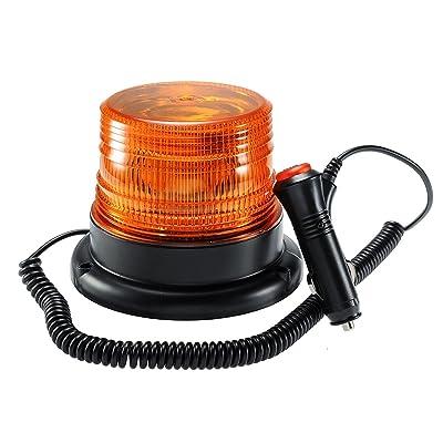 Amber Led Strobe Beacon Light, Emergency Magnetic Strobe Flashing Warning Beacon Light For Cars Truck Vehicle: Automotive