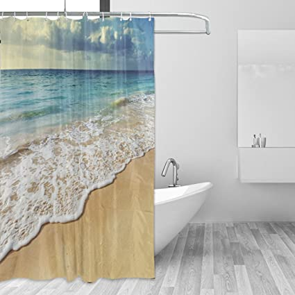 Nice Shower Curtain Beach Seawave White Cloud And Blue Sky Polyester Fabric  Curtains Bathroom Decor Set With