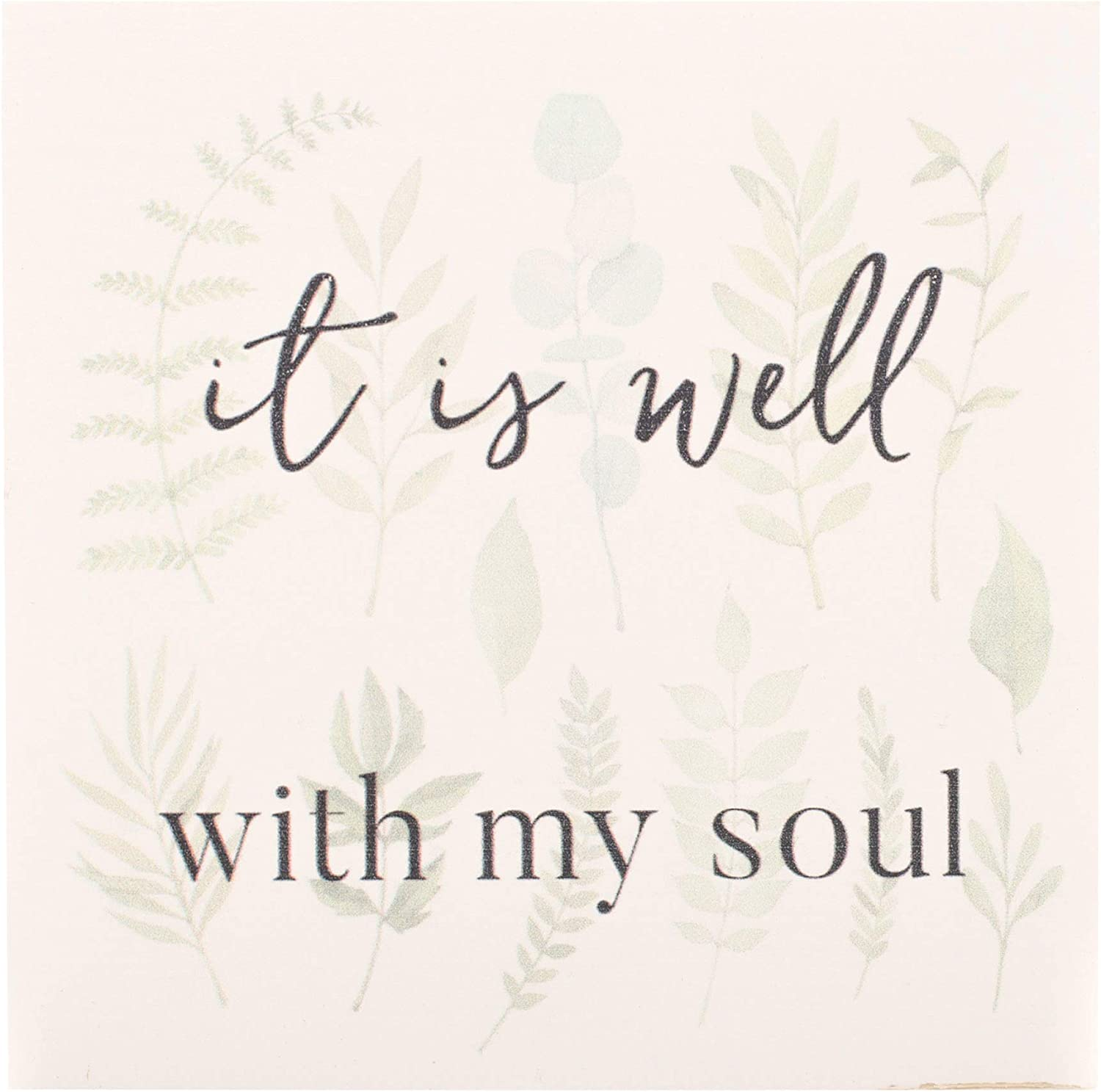 P. Graham Dunn It is Well with My Soul Mint Green 6 x 6 Pine Wood Barnhouse Block Plaque