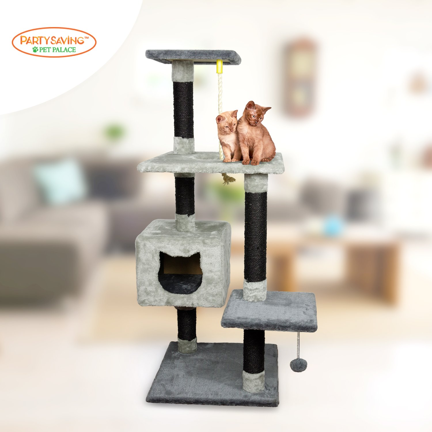 PARTYSAVING PET PALACE Multilevel Cat Condo Activity Tree, Fur Bed, Scratching Posts, Sisal Rope, Hanging Ball, APL2085