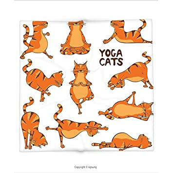 Manta de Custom printed con gato amante decoración colección gatos haciendo Yoga posición ejercicio Fitness Gimnasia ...