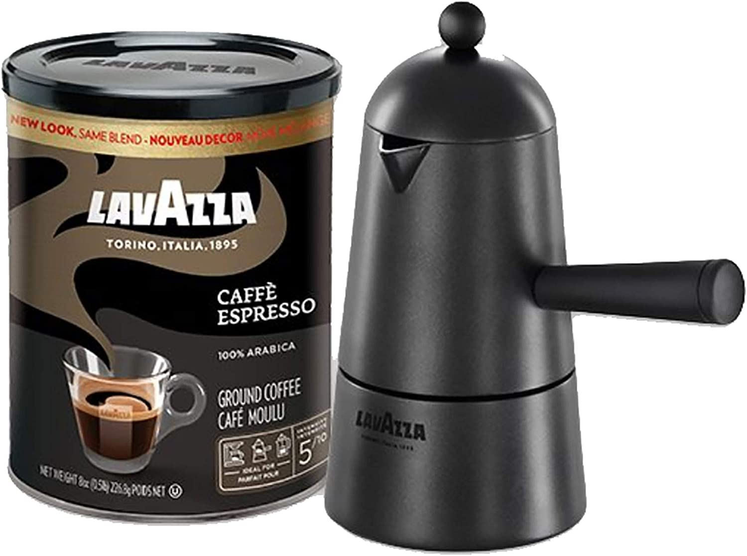 Lavazza Carmencita Gift Pack, Stovetop Maker & Espresso Italiano 8 Oz. Tin Can, Black (Packaging may vary)