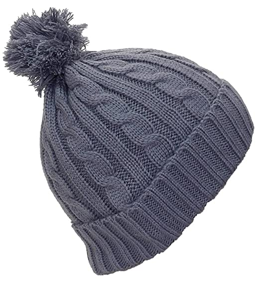 8ab7156a804d7 Best Winter Hats Women s Tight Cable Knit Cuffed Cap W Pom (One Size) -  Gray at Amazon Women s Clothing store