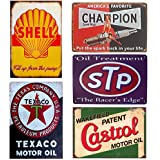 Retro Tin Signs Gas Motor Oil Signs 5PCS Vintage Metal Signs Posters for Garage Man Cave Shop Bar Pub Decor 12x8 inch
