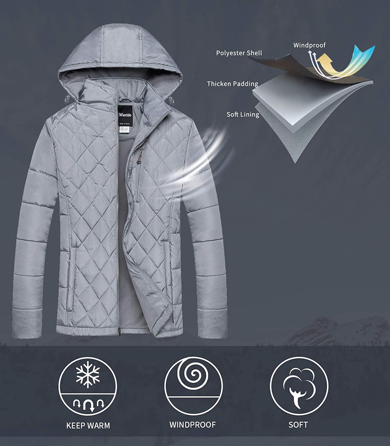 Wantdo Mens Hooded Puffer Jacket Thicken Cotton Coat Jacket