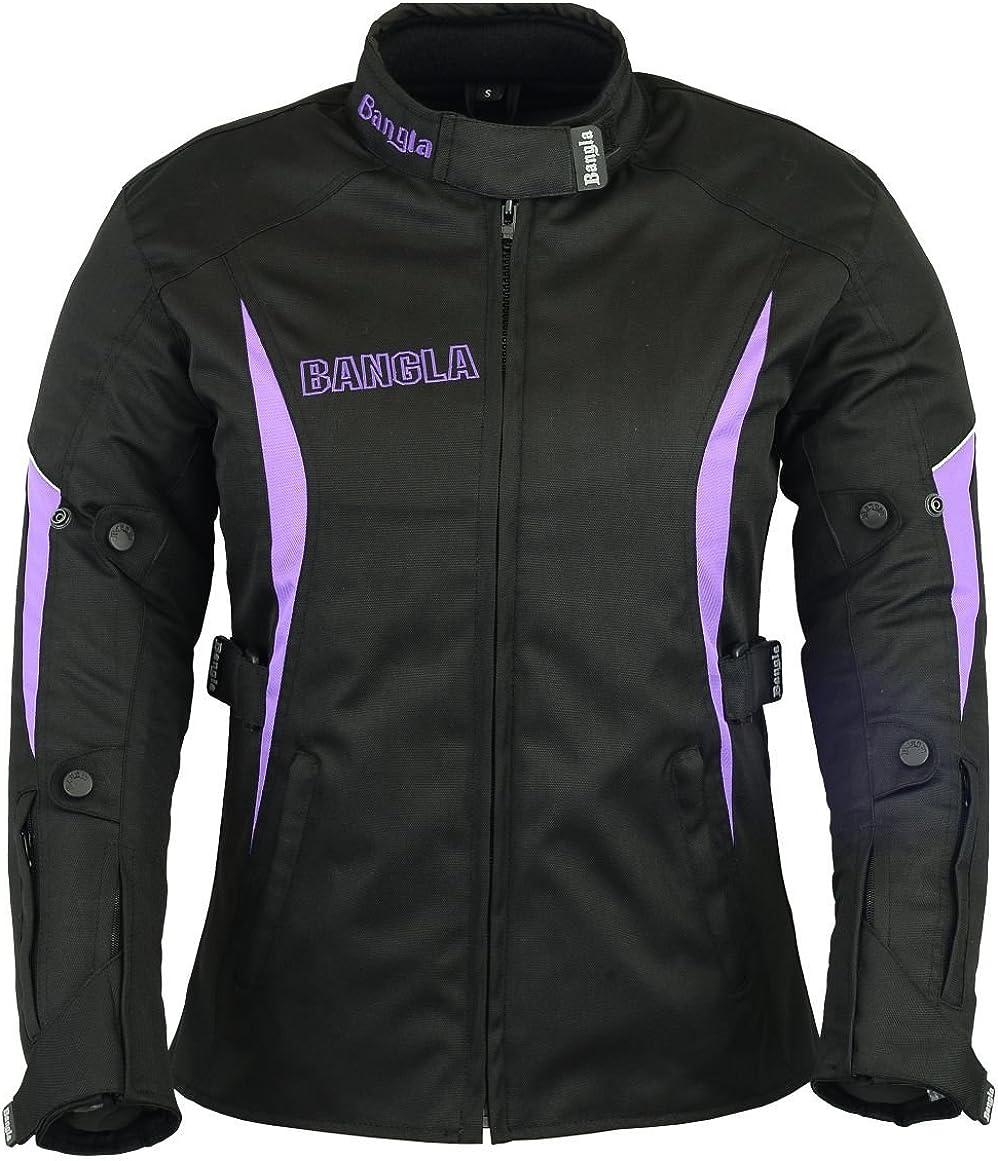 XXXL Ledershop-online Bangla Damen Motorrad Jacke Motorradjacke Textil Schwarz lila S
