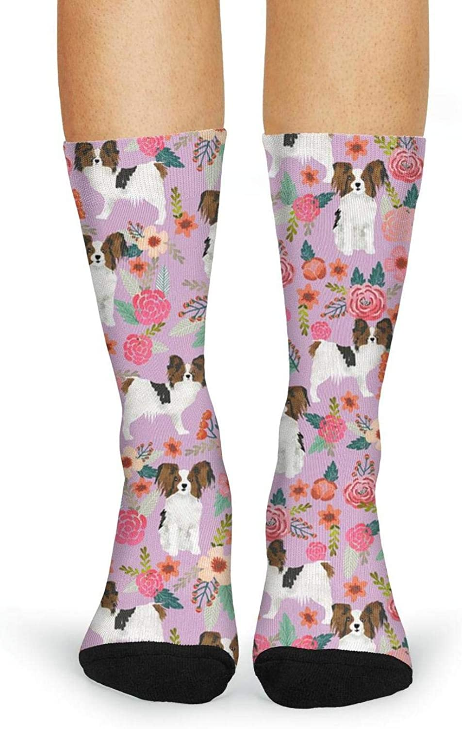 XIdan-die Womens Over-the-Calf Tube Socks Pets Papillon And Floral Cool Moisture Wicking Casual Socks