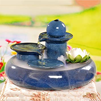 Liu Yu·espacio creativo,Azul creativo casa de cerámica Lucky fuente agua humidificador feng shui pescado redonda: Amazon.es: Hogar