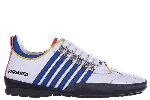 Dsquared2 Zapatos Zapatillas de Deporte Hombres en Piel ternegro Sport 251 Blanco EU 45 S16SN131 065 M313: Amazon.es: Zapatos y complementos