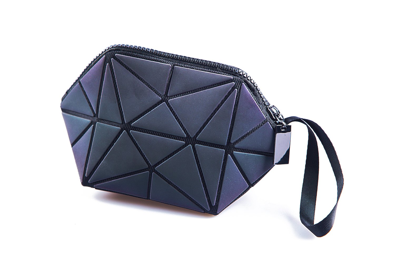 Luminous Handbag Lattice Design Geometric Bag Unique Purses Soft PU Leather Wristlet Clutch Cell Phone Purse by Sanzu