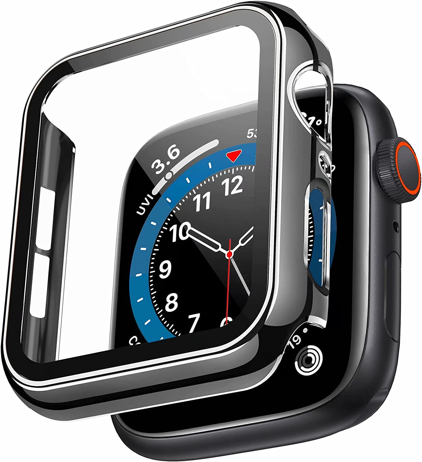 Swhatty Case Compatible with Apple Watch 44mm 40mm 42mm 38mm, Bumper Built in Tempered Glass Screen Protector, Protective Cover for iWatch Series SE 6 5 4 3 2 1 Women Men (Silver Edge Black, 44mm)