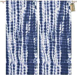Golee Window Curtain Watercolor Shibori Indigo Blue Tie Dye Pattern Navy Water Home Decor Pocket Drapes 2 Panels Curtain 104 x 84 inches